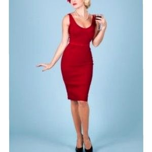 Bettie Page Vintage Style Red Pencil Pinup Dress